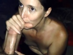 hotasswife sucks a dick and drinks trio cum