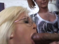 old mom stuffed by darksome cum in front of