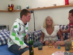 partying guys lure granny into some