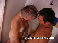 old slut and youthful dude in shower act