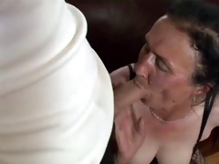 busty dark brown granny gets naughty pussy