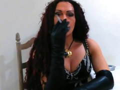 smokin with long leather gloves