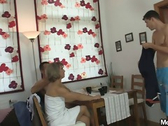 threesome sex with their sons gf after washroom
