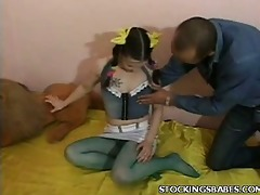 pigtailed euro legal age teenager in nylons gets