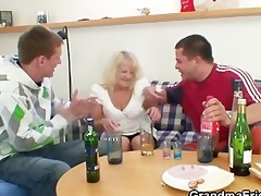 partying boyz lure granny into three-some