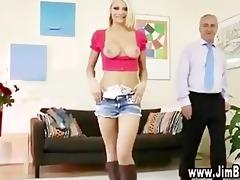 juvenile blond girl foreplaying