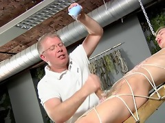 slave guy fastened up and jerked off several times