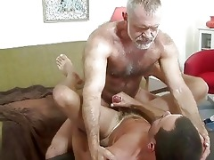 mature homo dad bangs younger stud on table