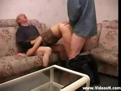 russian blonde in thresome with old dude and