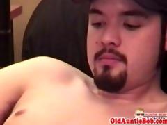 mature bear drools on juvenile fellows cock