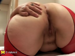 nifty ass white mother drilled with dildo
