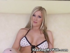 astonishing blonde bombshell stretches cum-hole