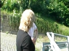 golden-haired mature broad outdoor fuck