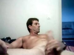 hot pumped up daddy shoots that cum