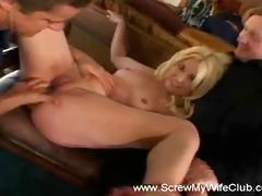golden-haired floozy swinger housewife copulates