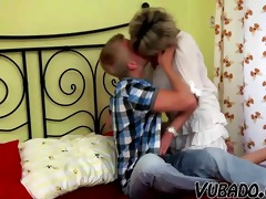 young boy bonks older lady in bedroom