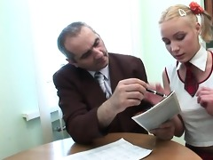 teacher is getting wet oral job