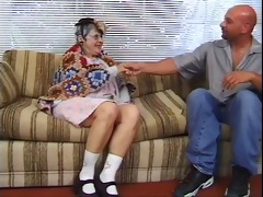 older woman blows young dude&s hard dong on