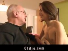 juvenile horny gal receives laid with an oldje