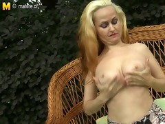 hot blonde mother playing with her juicy pussy in