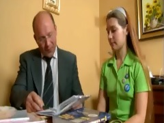 youthful teen cute russian cutie and old stud