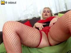 pawg golden-haired mother playing with old fur pie
