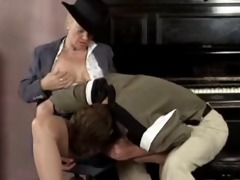 golden-haired aged masturbating and copulates