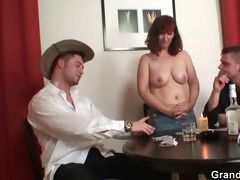 poker leads to 3some with old slut in nylons