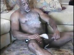 white chested ebony daddy strokes