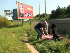 naughty pair public sex roadside