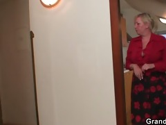two repairmen group sex busty grandma from both