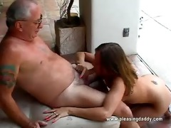 cutie gets throat screwed by old man