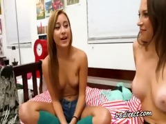 teen lesbos kiss and lick cum-hole