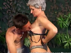 skinny lustful grey-haired slut acquires fucked
