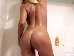 hawt breasty ginger milf takes a shower and