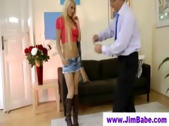 old guy spoiling a blondes youthful pussy