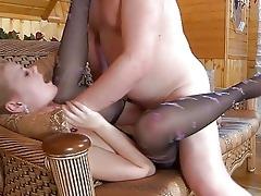 juvenile blonde in pantyhose receives slammed by