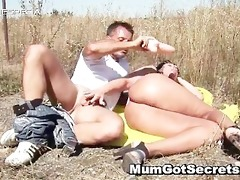sexually excited milf gets fucked hard outdoor