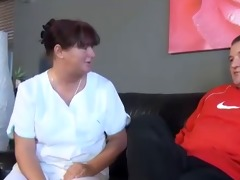 bbw mamma fucks younger guy on couch.
