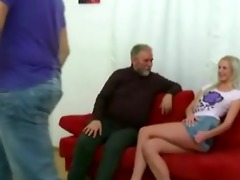 blond gal drilled by old man when her boyfriend
