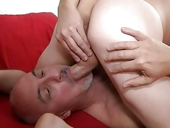 muscled gay and his older daddy licking balls in