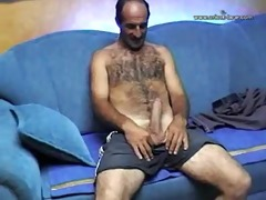 sexy bushy turkish daddy jacks off solo