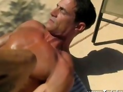sexy homo with the men cream dribbling down his