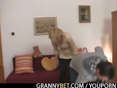 golden-haired granny jumps on juvenile cock