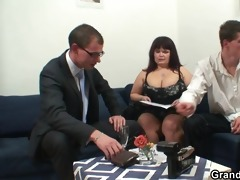 huge mature bitch receives group-fucked by two