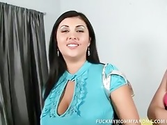 busty mom and daughter share giant pecker
