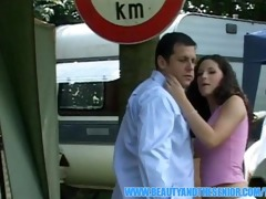 hawt youthful girl getting a facial from an old