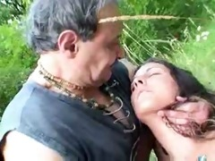old couple fucks young mature in the nature by
