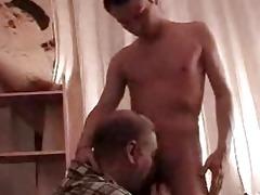 slim gay chap receives his weenie sucked by older