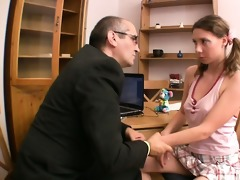 beautiful babe is engulfing teacher\s cock